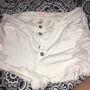 Pants - White High-Waisted Shorts